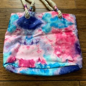 Accessories - Pink Blue and Purple Tie Dye Rope Tote Bag